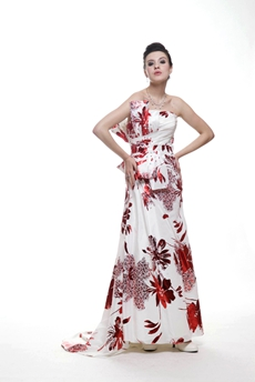 Special Strapless Column Full Length Printed Maxi Evening Dress