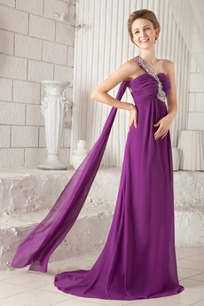 Charming One Straps Empire Full Length Regency Colored Prom Dress Front Slit