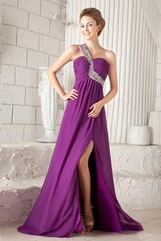 Charming One Straps Empire Full Length Regency Colored Prom Dress Front Slit