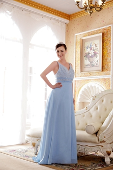 V-Neckline A-line Baby Blue Chiffon Prom Dress With Great Handwork