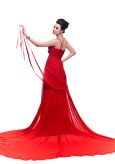 Grecian One Straps A-line Red Chiffon Formal Evening Gown