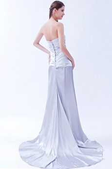 Elegance Strapless Column Full Length Silver Satin Formal Evening Gown