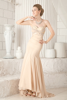 Sheath Floor Length Champagne Chiffon Prom Dress 2016