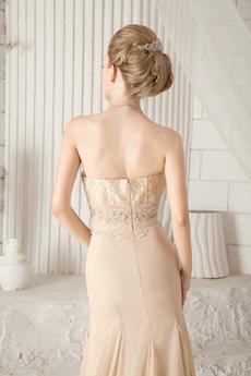 Sheath Floor Length Champagne Chiffon Prom Dress 2016