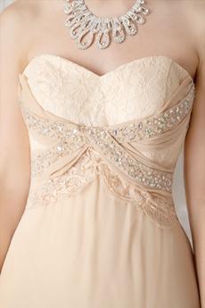 Sweetheart A-line Floor Length Champagne Chiffon Prom Dress