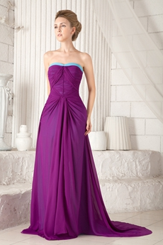 Impressive Dipped Neckline Column Plum And Blue Prom Dress