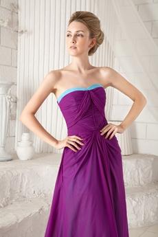 Impressive Dipped Neckline Column Plum And Blue Prom Dress