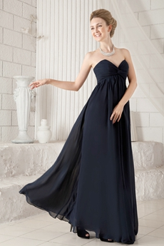Delicate Sweetheart Empire Full Length Dark Navy Chiffon Mother Of The Bride Dress