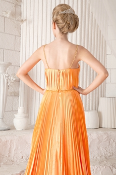 Fabulous Orange Satin Prom Dress With Crinkled