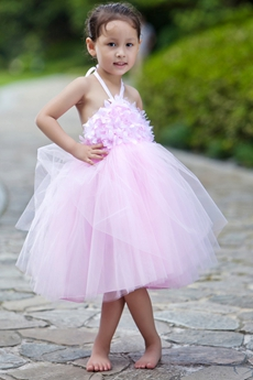 Backless Halter Pink Tutu Toddler Flower Girl Dress