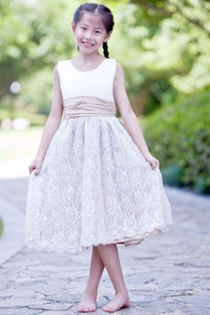White & Champagne Tea Length Lace Flower Girl Dress