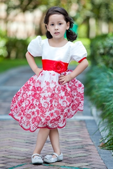 Cute White & Red Short Sleeves Knee Length Little Girls Dress