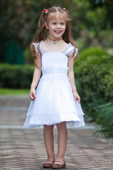 Knee Length Straps White Organza Infant Flower Girl Dress