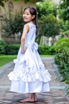 Tea Length Scoop Neckline Little Girls Party Dress