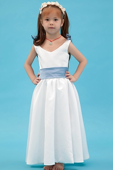 Blue & White Ankle Length Little Girls Dress