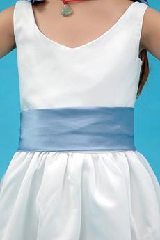 Blue & White Ankle Length Little Girls Dress