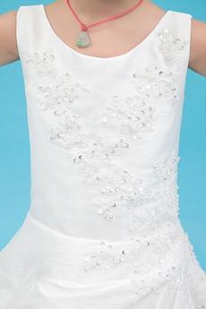 Scoop Neckline White Taffeta Puffy Flower Girl Dress Corset Back