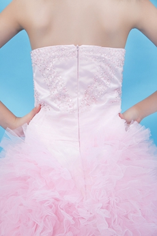 Top Halter Puffy Floor Length light Pink Infant Girl Pageant Dress