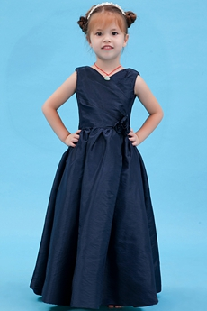 V-Neckline Full Length Dark Navy Taffeta Little Girl Pageant Dress