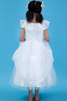 Scoop Neckline White Tulle Tea Length Infant Flower Girl Dress