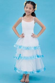 Spaghetti Straps Scoop Neckline Tea Length Flower Girl Dress
