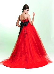 Dipped Neckline Red Tulle Princess Quinceanera Dress With Bowknot