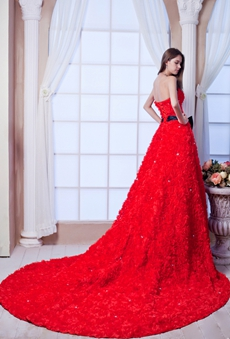 Unique Strapless A-line Gothic Red Wedding Dress With Black Sash