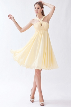 Mini Length Straps Yellow Chiffon Junior Bridesmaid Dress