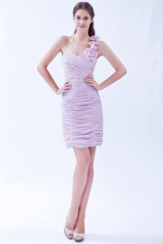 One Shoulder Sheath Mini Length Lilac Cocktail Dress