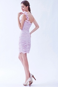 One Shoulder Sheath Mini Length Lilac Cocktail Dress