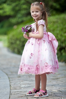Short Sleeves White & Pink Lace Flower Girl Dress