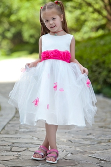 White & Fuchsia Tea Length Tutu Little Girls Pageant Dress