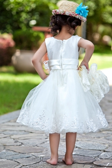 V-Neckline Tea Length Tutu Lace Toddler Flower Girl Dress