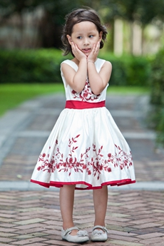 Square Neckline Red & White Knee Length Embroidery Toddler Girl Dress