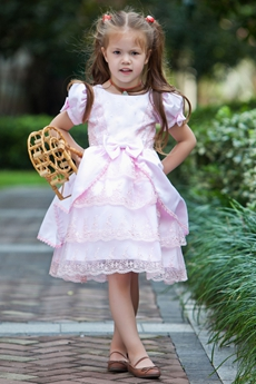 Mini Length Short Sleeves Pink Lace Flower Girl Dress