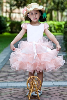 Short Sleeves Knee Length Ball Gown Pink Little Girls Party Dress