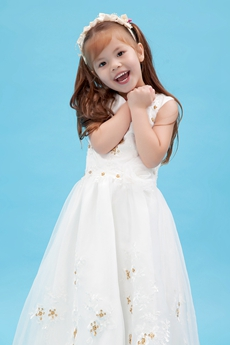Beautiful V-Neckline Full Length Toddlers Flower Girl Dress With Gold Sequins