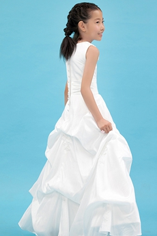 Scoop Neckline Puffy Floor Length White Taffeta Flower Girl Dress