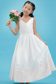 V-Neckline Ankle Length Satin Little Girls Pageant Dress