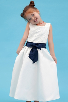 Square Neckline Ankle Length Infant Flower Girl Dress With Navy Blue Sash