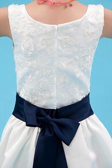 Square Neckline Ankle Length Infant Flower Girl Dress With Navy Blue Sash