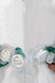Jewel Neckline Puffy Floor Length Organza Flower Girl Dress With Flowers
