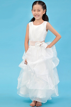 Ankle Length Scoop Neckline Organza Little Girls Party Dress