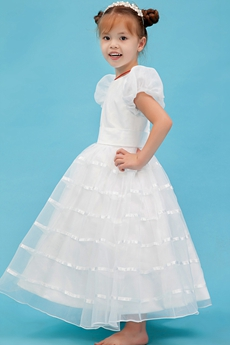 Short Sleeves Ankle Length Little Bridal Dress With Belt