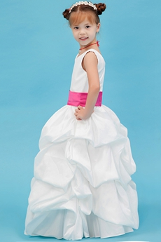 V-Neckline Puffy Taffeta Toddler Flower Girl Dresses With Fuchsia Sash