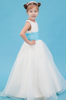 Cute Scoop Neckline Puffy Organza Infant Flower Girl Dress With Blue Sash
