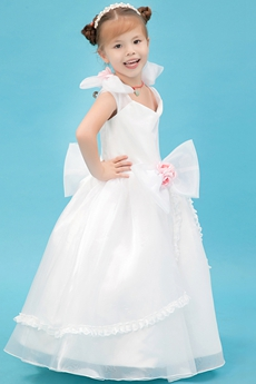 Cute V-Neckline Full Length Tutu Flower Girl Dress