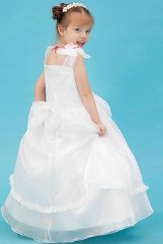 Cute V-Neckline Full Length Tutu Flower Girl Dress