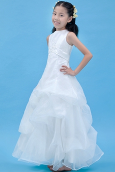 Jewel Neckline Ankle Length Organza Mini Wedding Dress