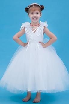 Adorable Tea Length Ball Gown Tulle Infant Flower Girl Dress